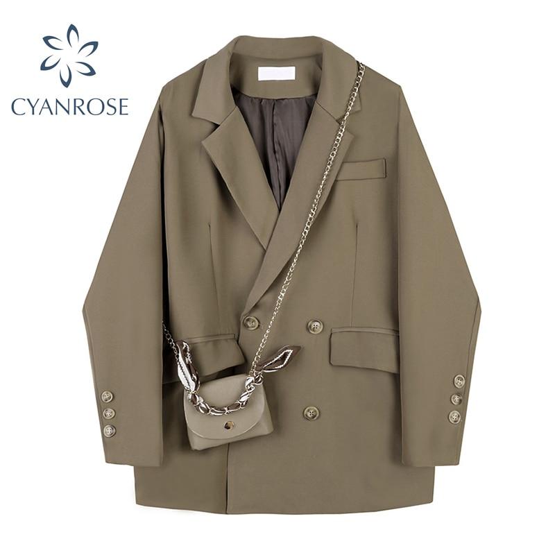 Fashion England Style Women Blazer Coats 2021 Autumn Korean Vintage Loose Double-Breasted Casual Lon