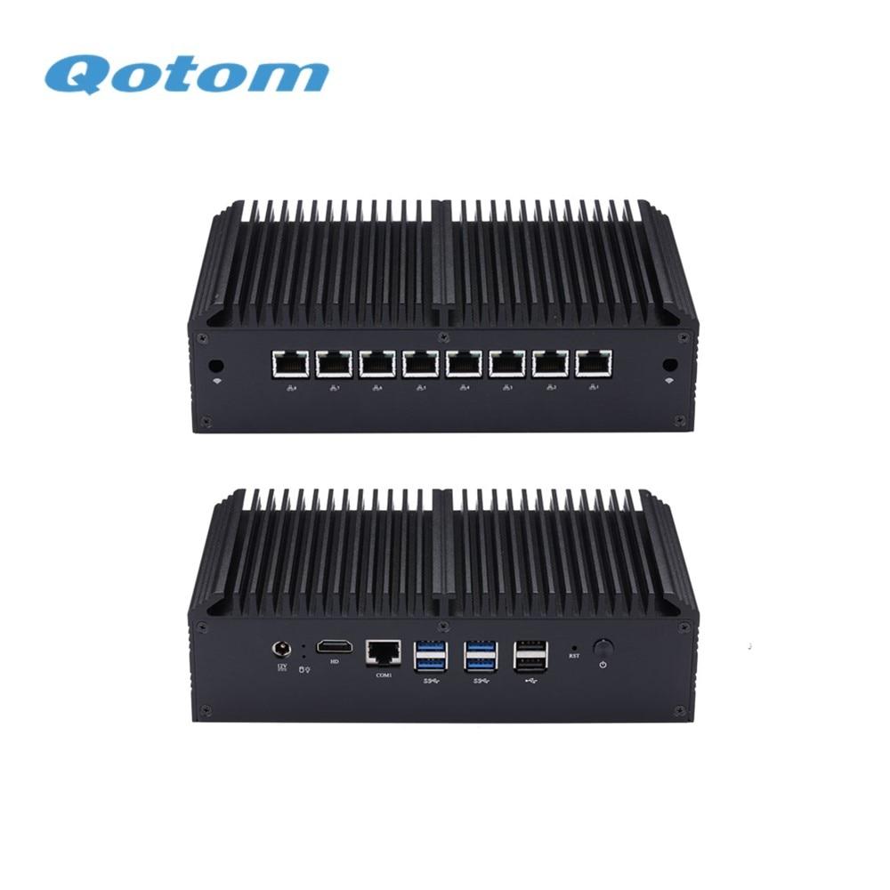 Envío Gratis QOTOM 8 puerto LAN Firewall Micro dispositivo Mini PC Q818GE Q838GE- Celeron 3867U Core i3-8130U AES-NI... Barebone
