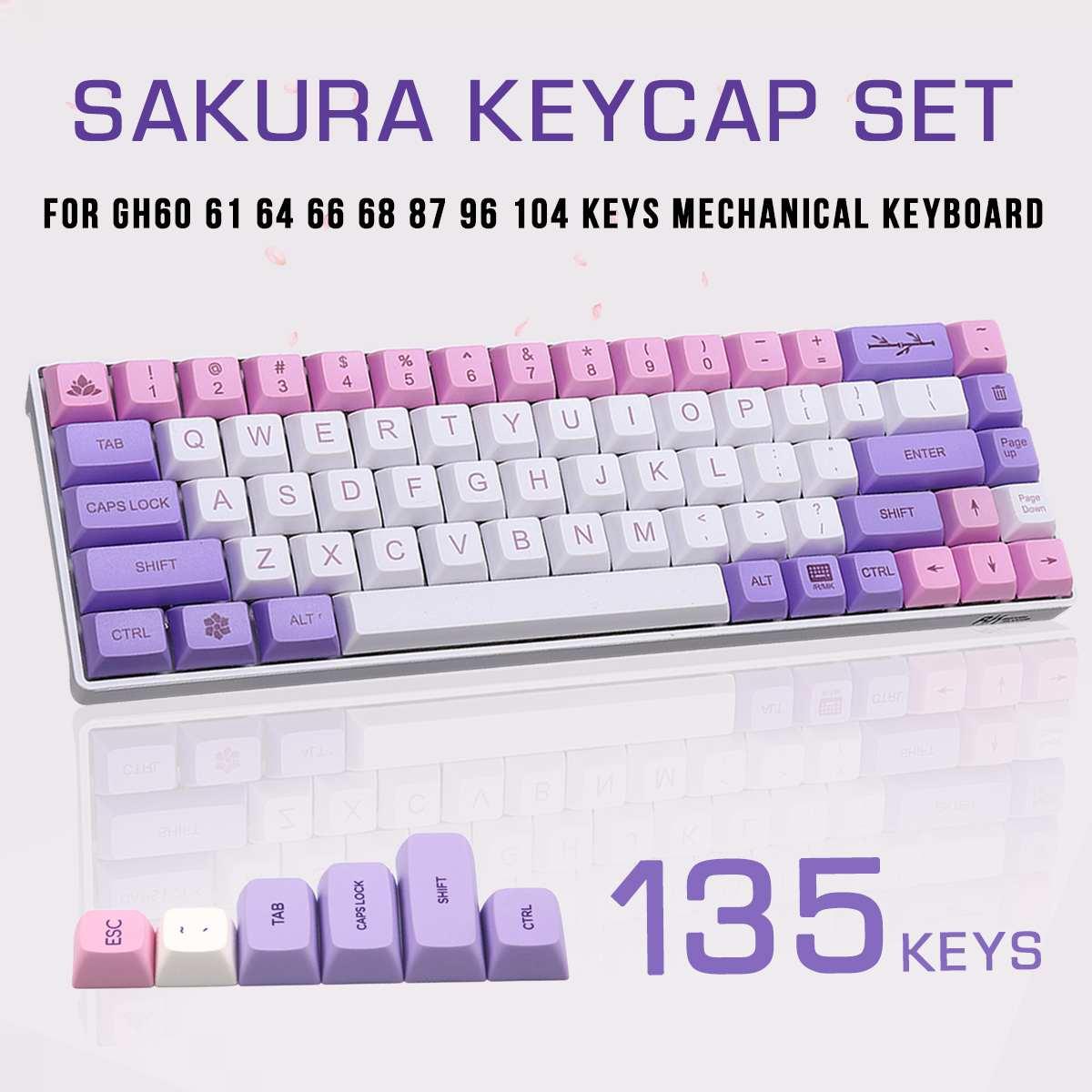 Novo 135 teclas sakura keycap xda perfil sublimação pbt keycaps para gh60 61 64 66 68 87 96 104 teclas teclado mecânico