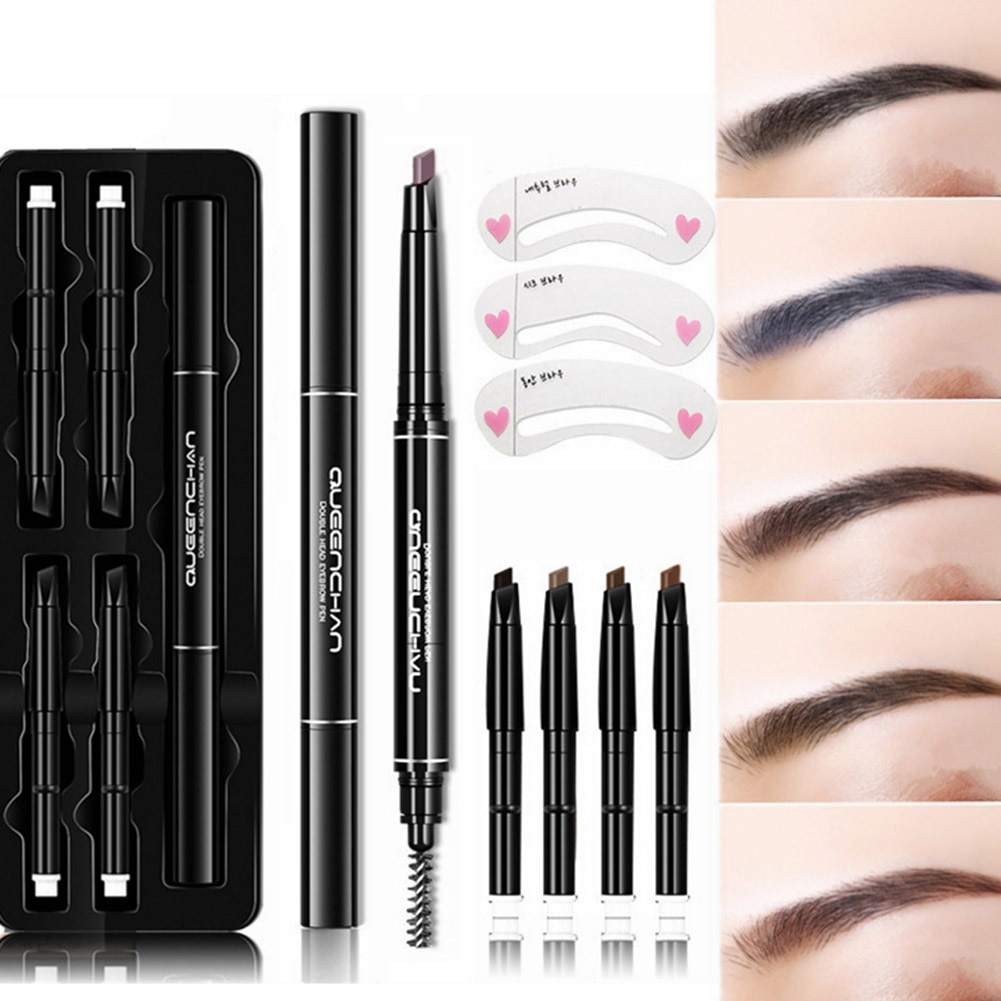 8 unids/set herramienta de maquillaje de ojos ceja lápiz ceja plantillas Kits impermeable de larga duración tatuaje pluma de doble extremo rotación automática