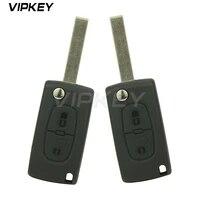 remotekey 2pcs ce0536 model 207 307 308 car flip remote key for peugeot citroen 2 button 434mhz hu83 key blade remotekey