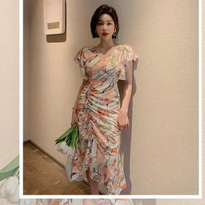 2020 Summer Print Women Dress Short Sleeve V Neck Bodycon Drawcord Asymmetrical Dress Lady Vestidos Elegant Sexy Party Dresses