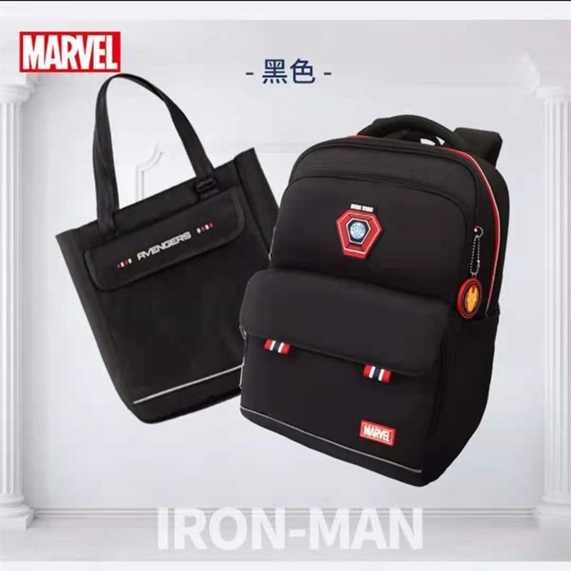Disney Marvel School Bags For Boys Primary Student Shoulder Orthopedic Backpack Grade 1-5 Light Large Capacity Iron Man Mochila