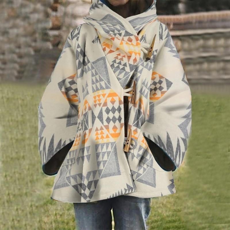 Otoño 2020 Abrigo con capucha Mujer Irregular geométrico impreso Vintage chaqueta mujeres...
