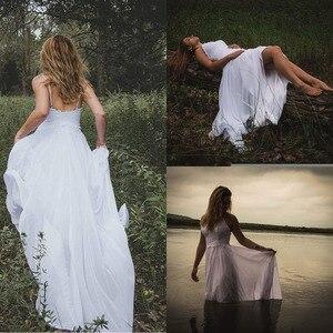 Spaghetti Straps Applique Backless Long Chiffon Beach Vintage Wedding Dress Vestido Robe De Mariee Noiva Brautkleid Open Back