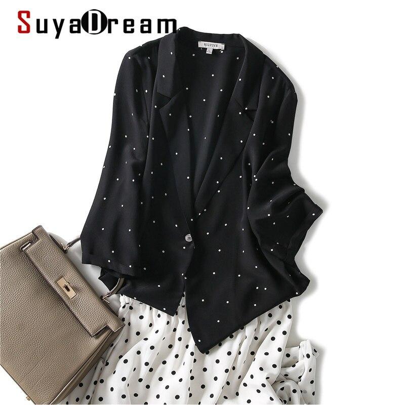 سترة النساء SuyaDream 100% كريب الحرير زر واحد النقاط المطبوعة سترات 2020 خريف شتاء أسود مع نقاط بيضاء لباس خارجي