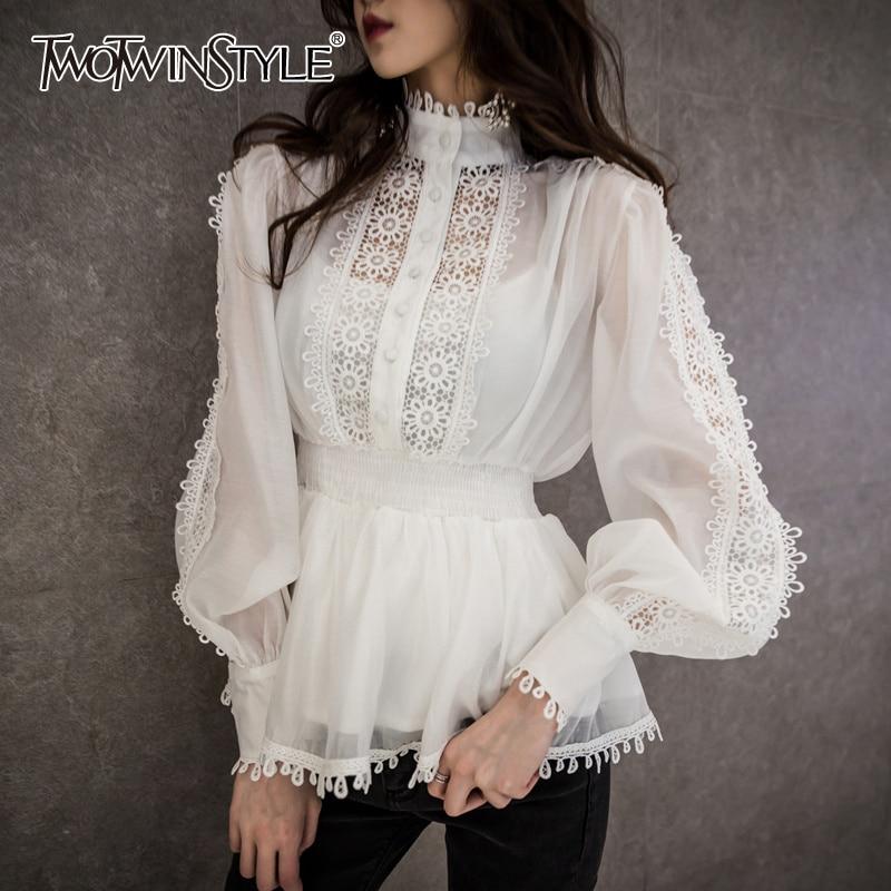 Twotwinstyle retalhos oco para fora camisas femininas elegantes gola coreano blusa feminina 2020 outono moda de grandes dimensões nova
