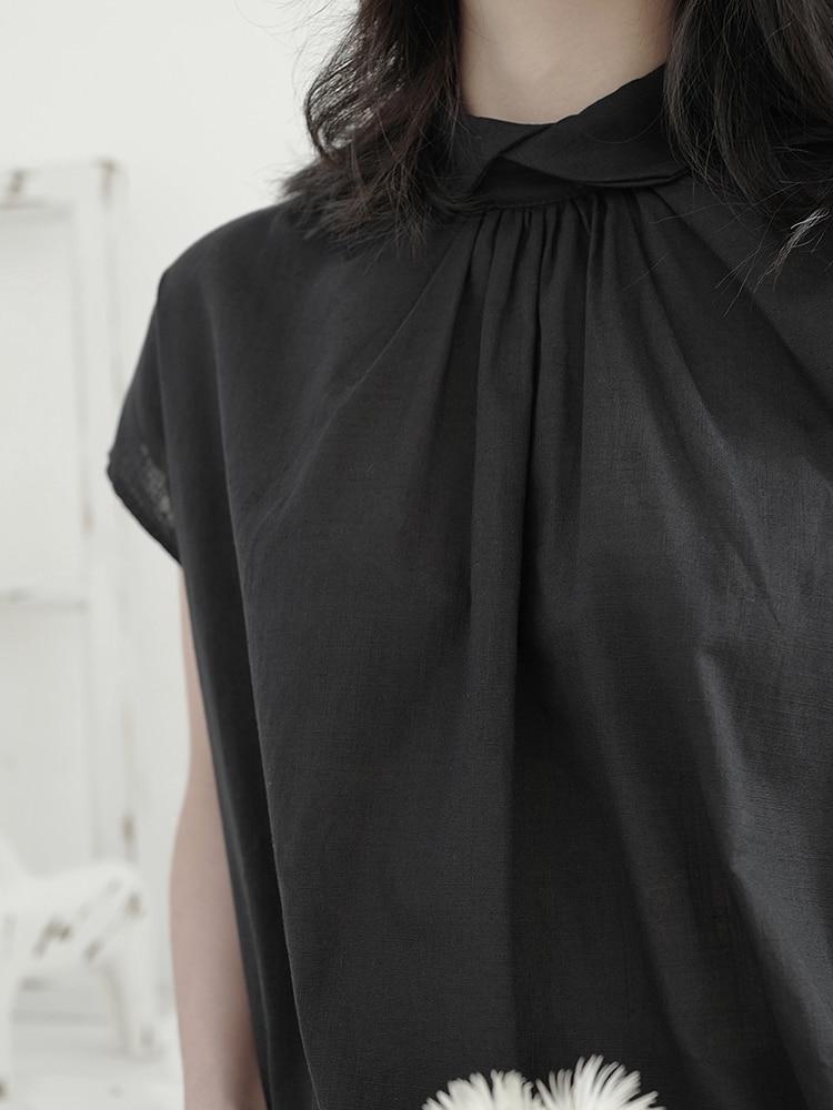 Yamamoto-قميص القنب الداكن للنساء ، ملابس صيفية فضفاضة ، تصميم ياباني ، سترة صغيرة ، ملمس