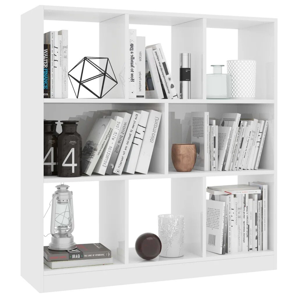VidaXL, Libreros de armario de libros, gran blanco brillante, 29,5x100 cm x 97,5, muebles de sala de estar con aglomerado