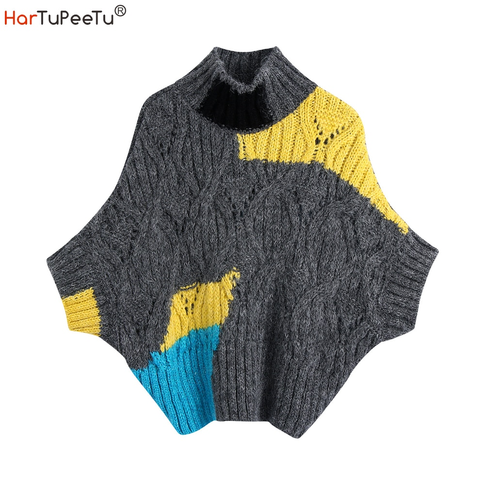 Pullover Knitted Vest Sweater Coat Women Autumn Half High Collar Batwing Sleeve Loose Jumper Patchwork Colours Block Knitwear brief round collar color block knitted women pullover