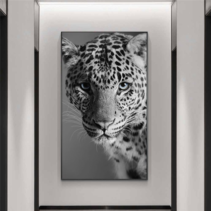 Black and White Leopard Panther on The Wall Art Posters and Prints Animals Panther Art Pictures for Living Room Cuadros