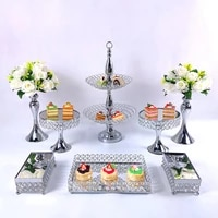 8pcs gold silver metal cake stand round wedding birthday party dessert cupcake pedestal display plate home decor