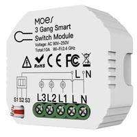 Mini WiFi commutateur de lumiere intelligente 3 gangs 1 2 voies Module vie intelligente Tuya App controle fonctionne pour Amazon Alexa et Google Home