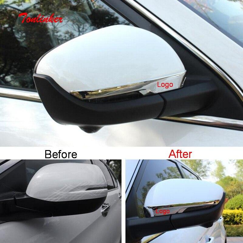 Tonlinker espejo retrovisor Exterior del coche cubierta de pegatinas para Geely Atlas 2016-19 estilo de coche 2 uds ABS Chrome cubre etiqueta engomada