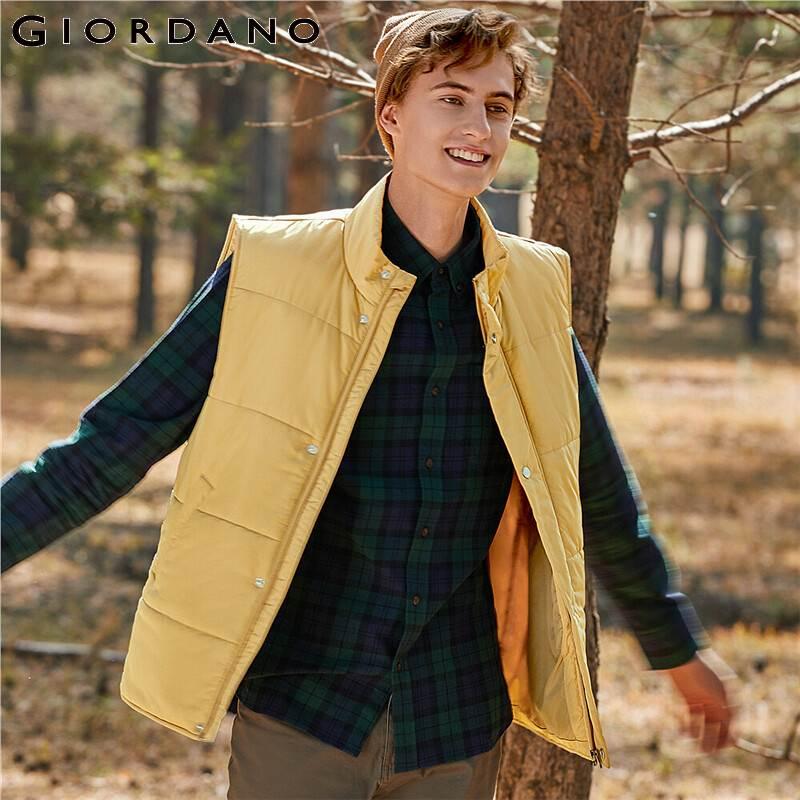 Giordano Men Vest Plain Stand Collar Vest Slant Pockets Zip Front Polyester Soild Chaleco Termico Hombre 13070807