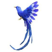 Fashion-Artificial Bird Feathers Plastic Figurine Landscape Ornament Garden Decor Christmas DIY Halloween, 28 * 5 * 3cm