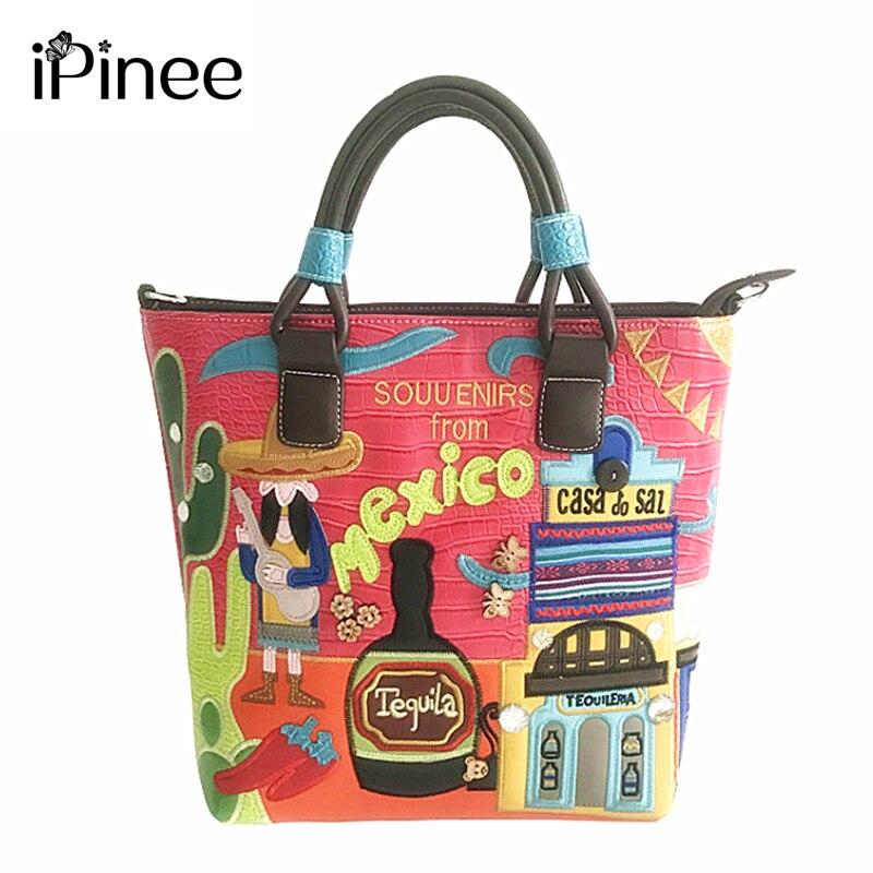 IPinee-حقائب كتف من الجلد الصناعي للنساء ، حقائب يد من الجلد الصناعي ، على الطراز الإيطالي ، صناعة يدوية ، حقيبة مطرزة للنساء