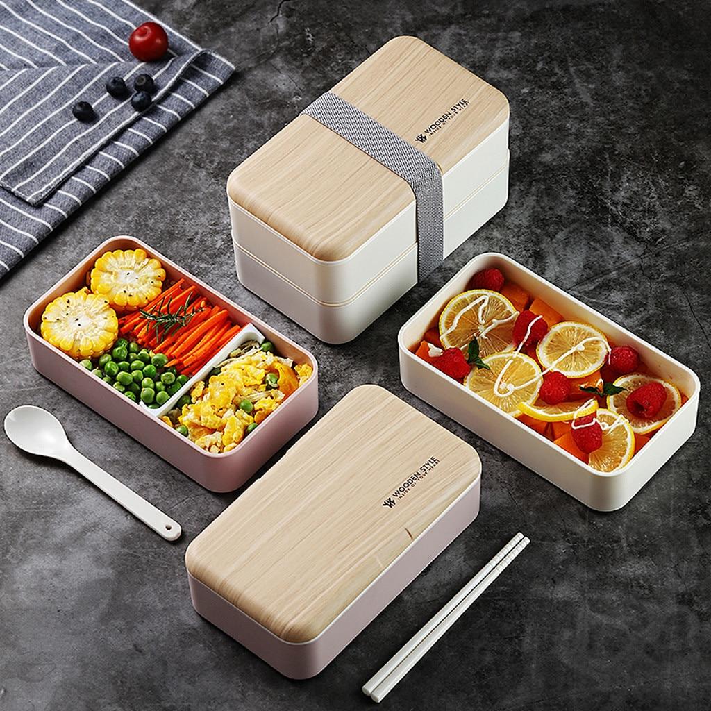 Fiambrera de doble capa para microondas, caja Bento de madera para ensaladas de 1200ml, caja portatil sin BPA para trabajadores y estudiantes