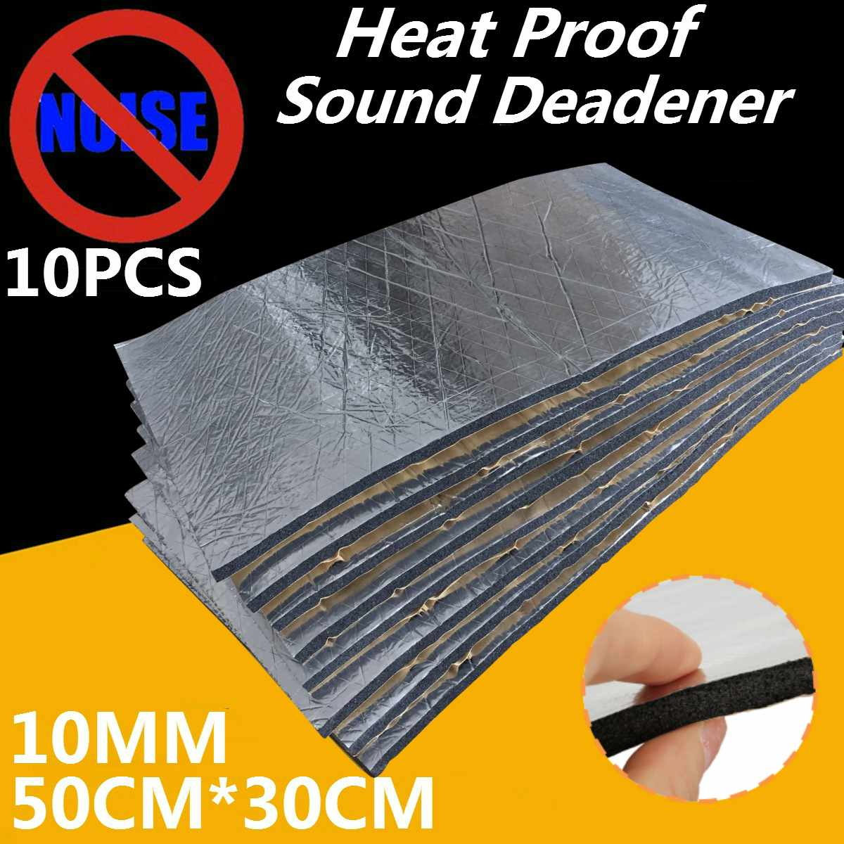 10PCS 10MM Noise insulation For Car Foam Car Sound Heat Proof Auto Insulation Car Engine Firewall Heat Aluminum Foam