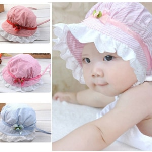 New Lovely Baby Lace Bowknot Summer Hat Infant Children's Striped Sun Hat Cap Cute Fisherman Caps for Kid Chirldren 4 Choices