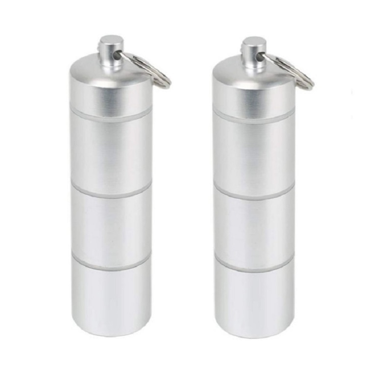 2PC Multi-Cell Storage Bottle EDC Outdoor Portable Small Waterproof Sealed Pill Medicine Bottle Box Keychain Tool