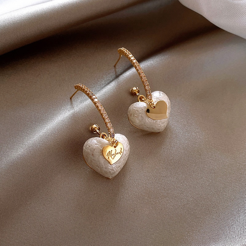 Classic Fashion Imitation Pearl Crystal Heart-shaped Pendant Earrings Women Luxury New Statement Earrings Jewelry Gifts for Girl