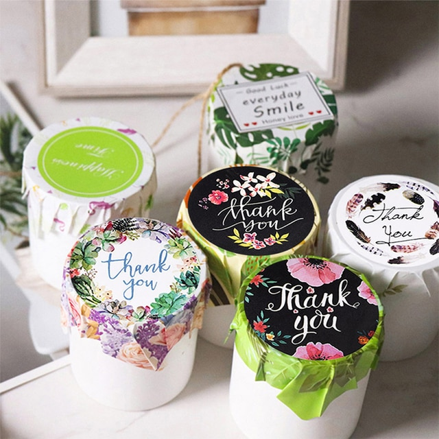 500pcs/Roll Round Floral Thank You Sealed Label Sticker 2