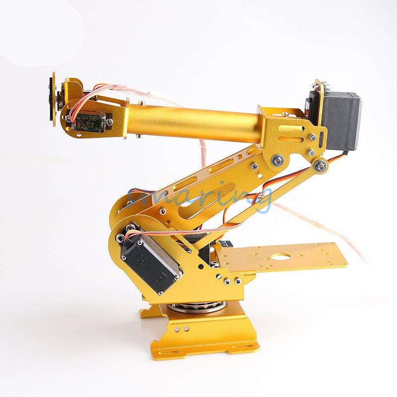 Braço robô de liga de alumínio com 6 eixos, arduino com kit servo 6dof robótico de 360 graus, base de rotação, educação para arduino