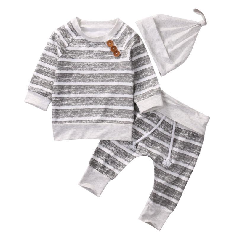 Pudcoco 2019 Neue Mode 3PCS Säuglings Kleidung Neugeborenen Gestreiften Sweatshirt Jogger und Baby Kappe Hut 3-teilig langarm