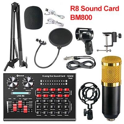 Bm 800 estúdio microfone r8 kits de placa de som bm800 microfone condensador para computador telefone karaoke cantando jogo mic suporte