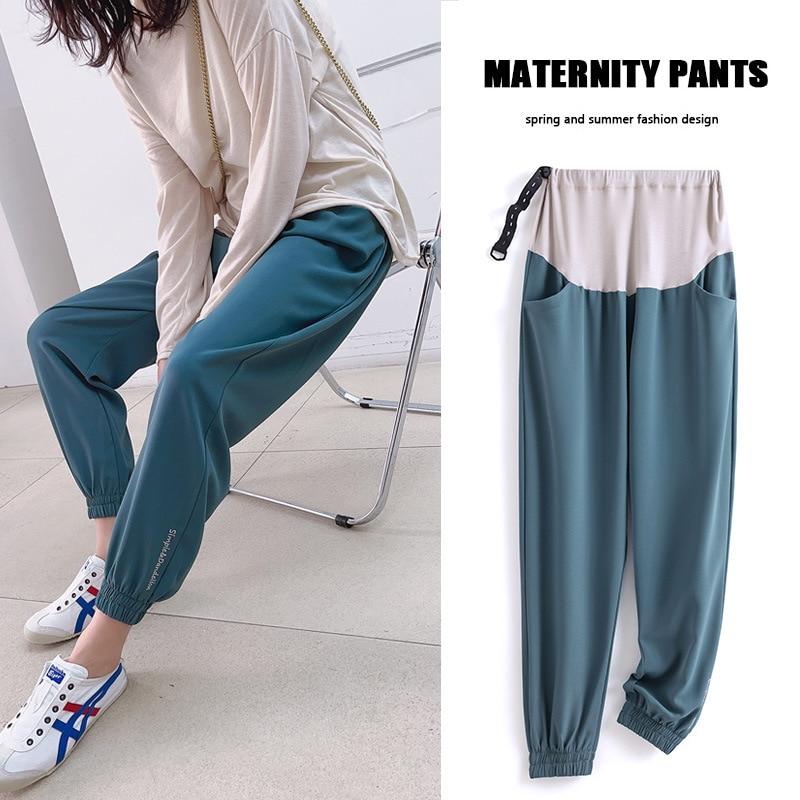 Maternity Pants Abdomen Extender Loose Trousers For Pregnant Women Pregnancy Pants Ankle Elasticized