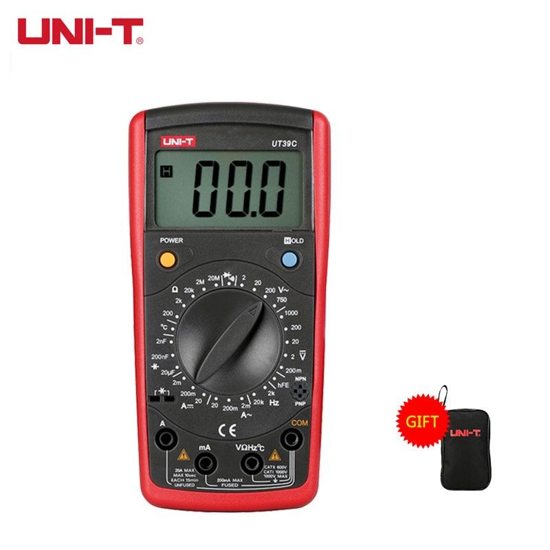 UNI-T ручной Диапазон Цифровой мультиметр UT39A/B/C/E UNI T мультитестер Конденсатор Транзистор тестер DC AC Вольт Частотомер