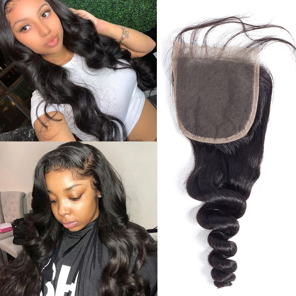 4x4 5x5 Lace Closure Free/Middle Part Swiss Lace Loose Wave Remy Peruvian Hair 8-22 Inch Pre Plucked 4x4 Loose Deep Lace Closure
