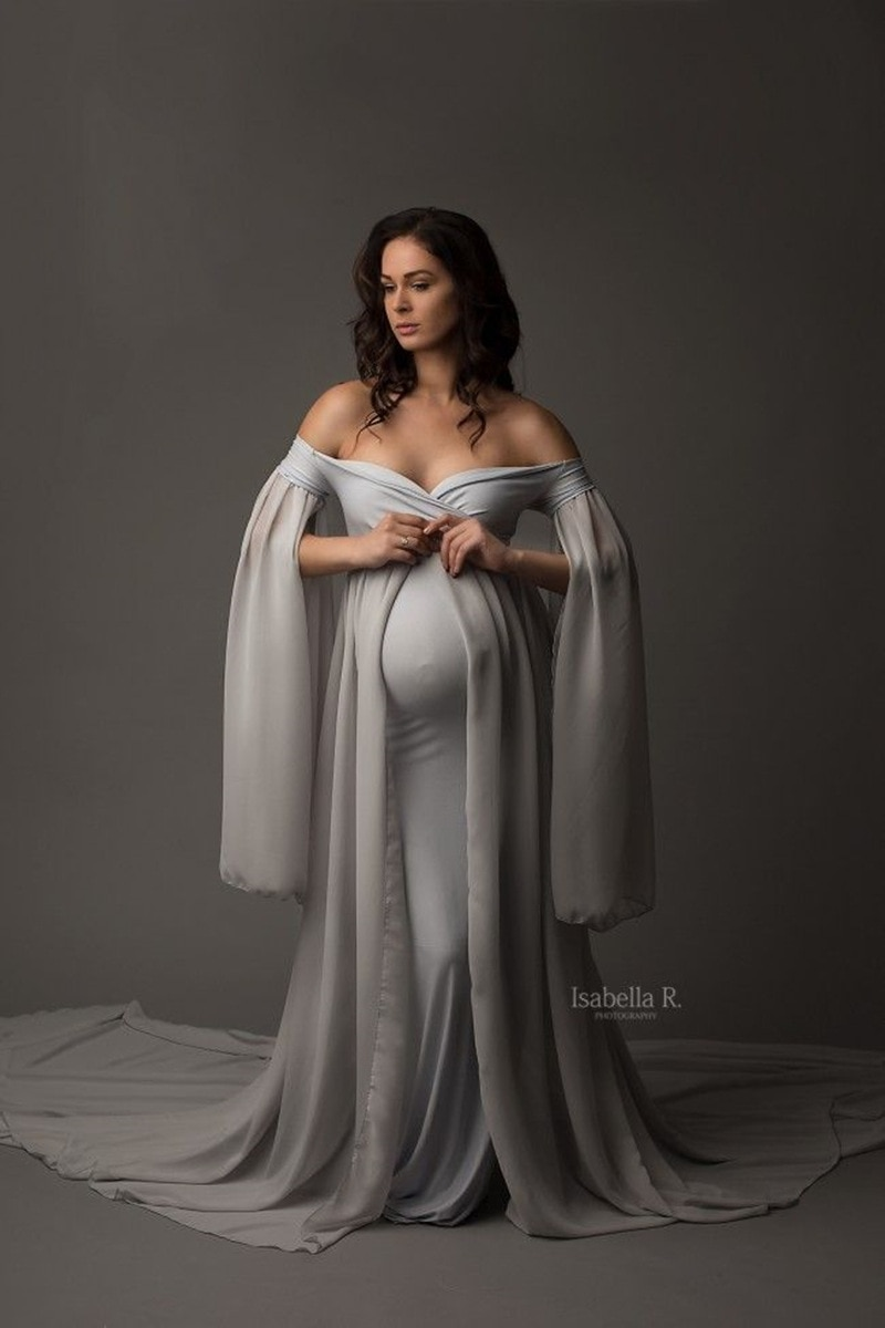 Chiffon Maxi Maternity Gown Dresses For Photo Shoot Sexy Shoulderless Pregnant Women Baby Shower Pregnancy Dress Photography enlarge