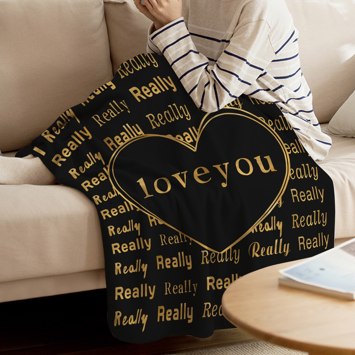 ValentineS Day I Really Love Black Throw Blanket Soft Comfortable Velvet Plush Blankets Warm Sofa Bed Sheets