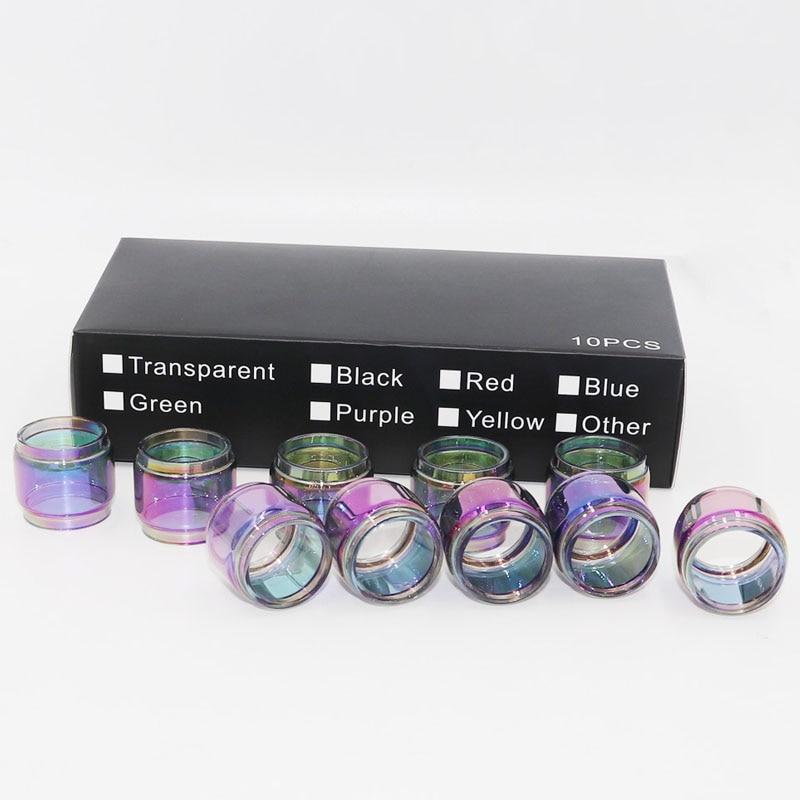 10 unids/caja vidrio de arcoíris tubo para smok tfv12 bebé Príncipe vape pluma 22 tfv16 tfv8 big baby rba burbuja transparente tubo de repuesto pyrex