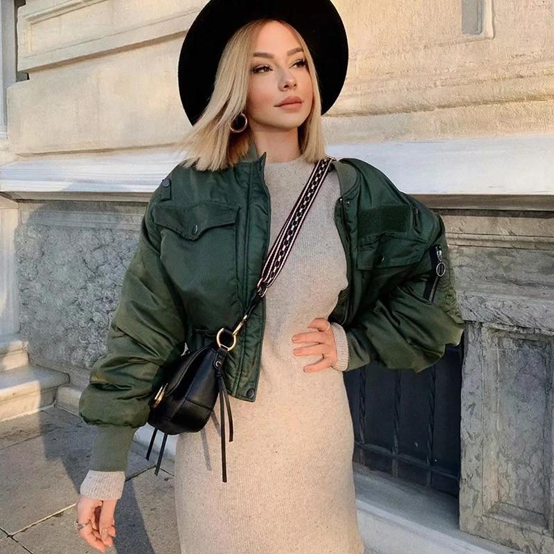 2020 stylish lady autumn winter za green short jackets women fashion long sleeve zipper bomber jacket outwear women's coat