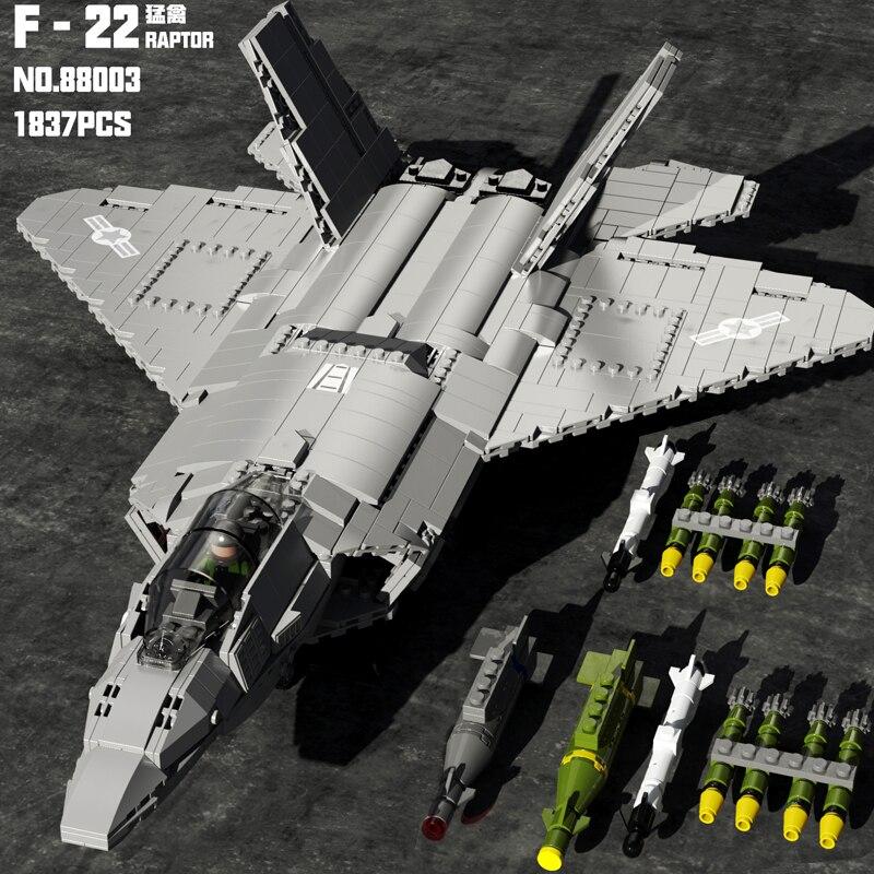 MOC العسكرية التكنولوجيا الفائقة الهواء مقاتلة الطيران الطائرات تحلق القرش سفينة J-15 F-22 F-35 نموذج بناء كتل الطوب لعب هدايا