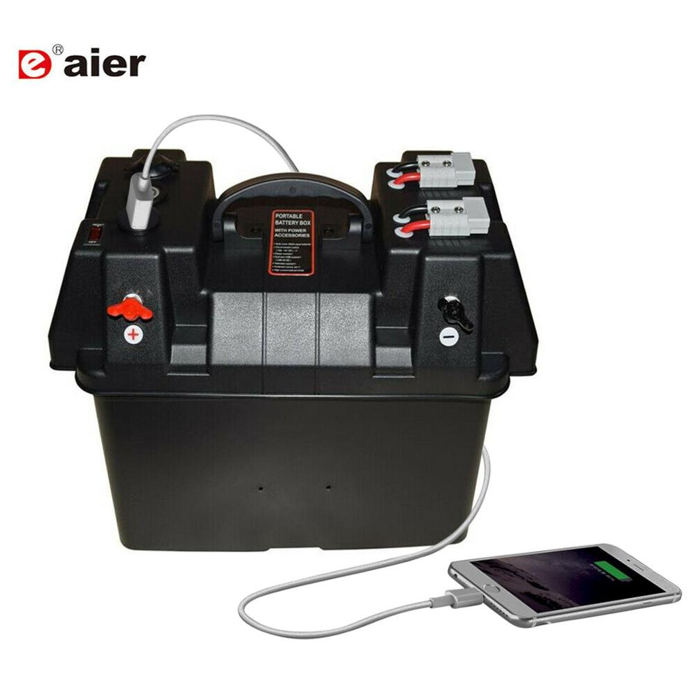 24-27 Group Smart Marine Battery Box with USB Charger & 12V Socket & Voltmeter Automotive Marine RV Camper Safely Stores