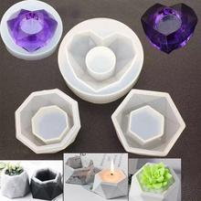 Silicone Plant Pot Molds Form Arts Craft Polygonal Casting Moulds DIY Succulent Flowerpot Clay Mold 3 Styles Concrete Mould