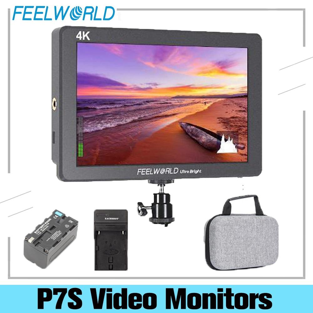 FEELWORLD-شاشة الكاميرا الميدانية P7S 7 بوصة ، فائقة السطوع 2200nit ، 3G-SDI ، DSLR ، تصميم الألومنيوم ، مساعدة التركيز ، خرج 4k-hdmi DC