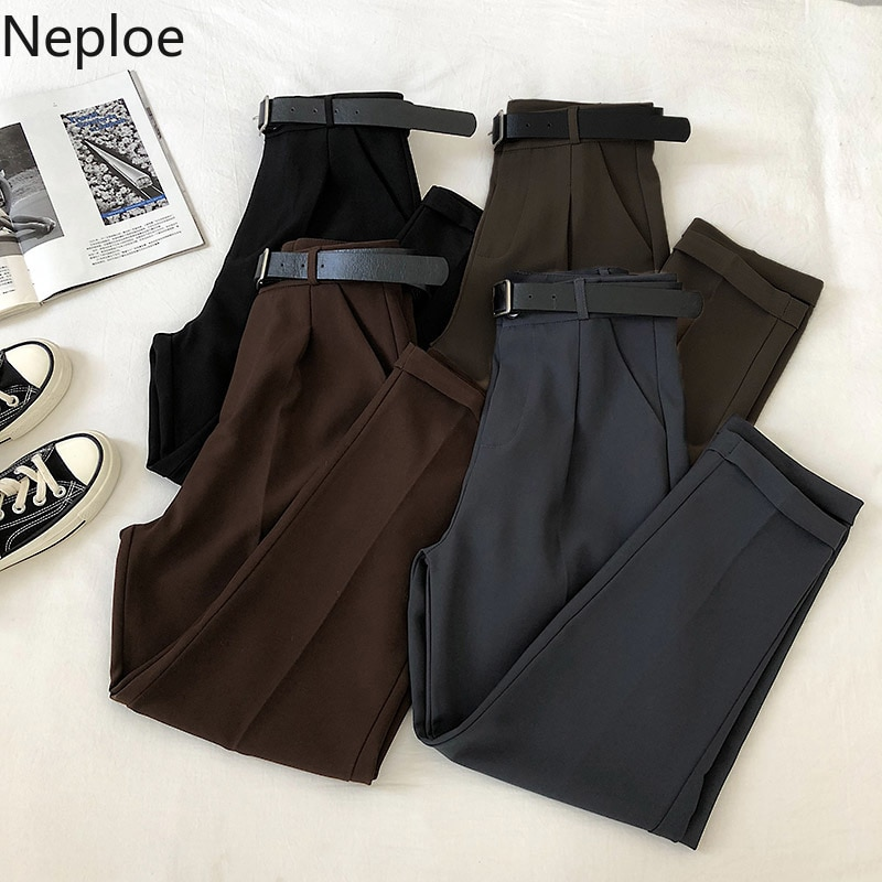 Neploe Fold Blazer Harem Pants Women 2020 New Spring Korean Leisure Ankle Trousers Zipper Belt High Waist Slim Solid Pant 57003