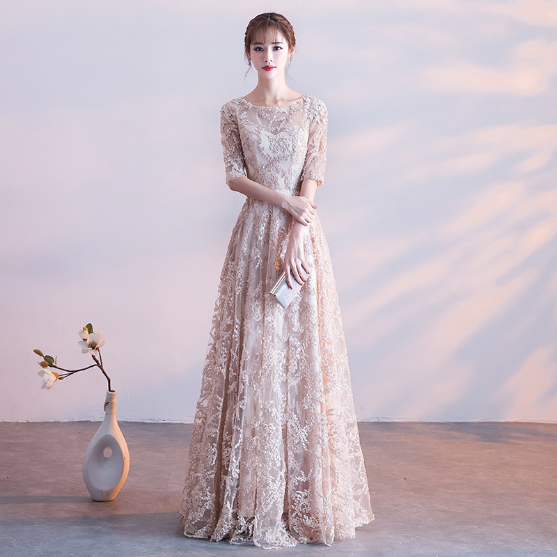 Evening Dress 2019 New Fashion Illusion O-neck A-line Floor Length Prom Party Dress Half Sleeve Cust