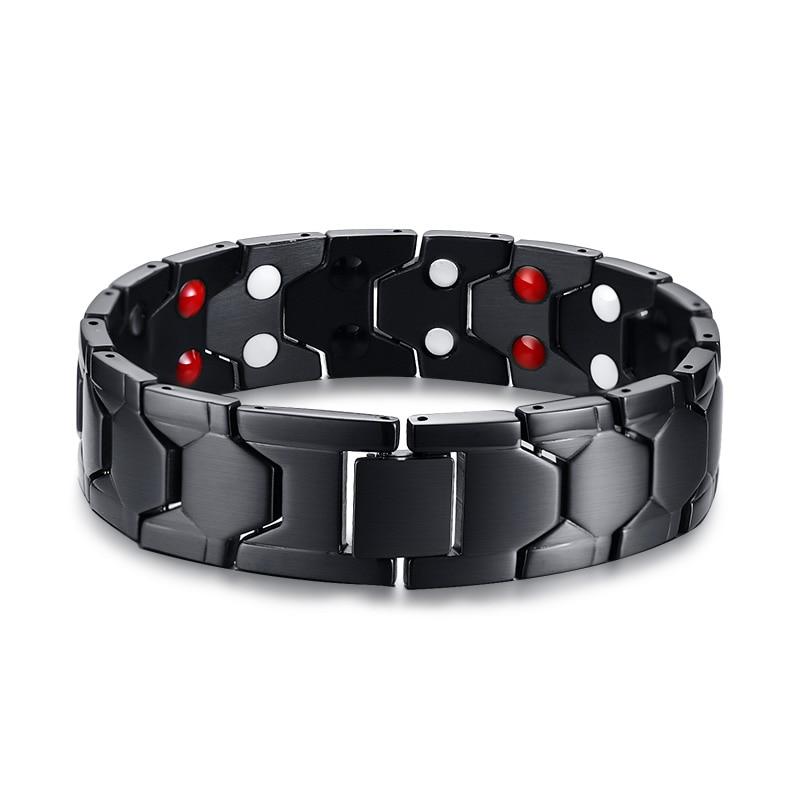 JHSL High Quality Black Men 316L Stainless Steel Healthy Magnetic Stone Bracelets Bangles