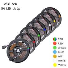 Светодиодная лента RGB, светильник 2835 DC12V, водонепроницаемая/не водонепроницаемая гибкая светодиодная Диодная лента, 60 светодиодов/м, 5 м, светодиодная лента для украшения дома