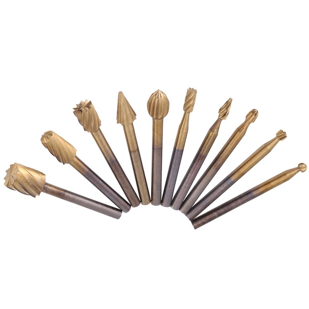Alta Velocidad, fresas de acero, enrutamiento de limas rotativas, cortador de cuchillos, herramienta para tallado de madera, accesorios, conjunto de caja de 10 Uds