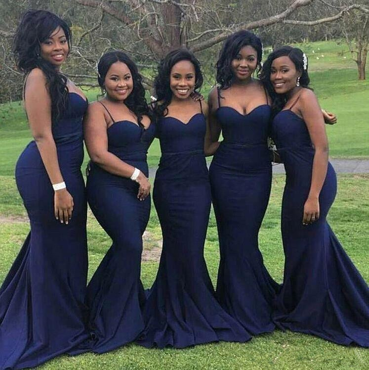 Navy Blue 2019 Cheap Bridesmaid Dresses Under 50 Mermaid Spaghetti Straps Satin Backless Long Weddin