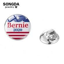 SONGDA Bernie Sanders 2020 Lapel Pins Glass Art Photo Brooch Pin Joe Biden President Election Badges For President Support Gift