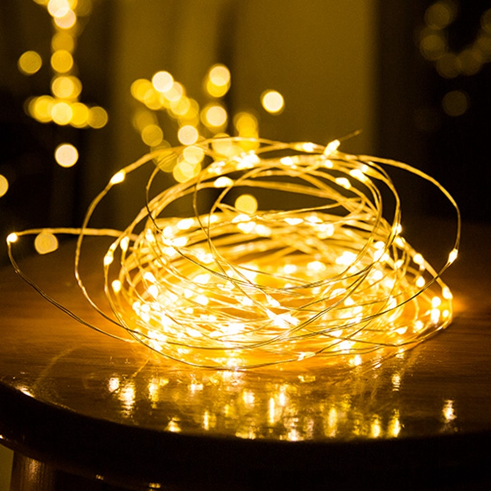 1-10м LED светлини на нишка медна тел фея - Празнично осветление - Снимка 3