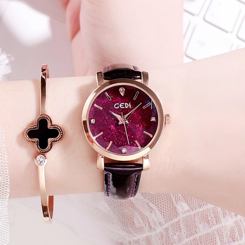 Fashion Starry Sky Women's Watches Luxury Brand Waterproof Leather Strap Woman Quartz Wristwatch GED
